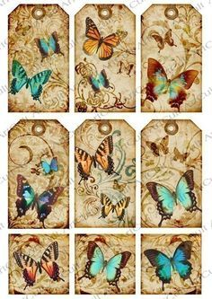 Новости Vintage Tags, Vintage Labels, Vintage Paper, Butterfly Gifts, Butterfly Cards, Card Tags, Gift Tags, Paper Art, Paper Crafts