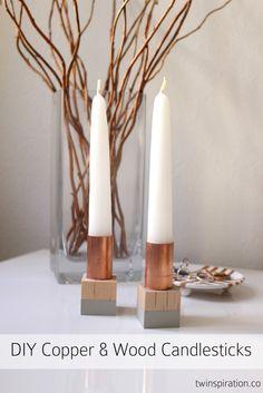 DIY Copper & Wood Block Candlesticks by Twinspiration at http://twinspiration.co/diy-copper-candlesticks/