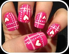 Valentine's Day Nail Art Design - Hearts and Dots Design