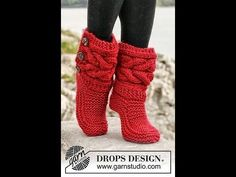 "Little Red Riding Slippers - Slippers with cables in Eskimo by DROPS designDIY Knit Slipper Boots Free Patterns by DROPS Design. My favorite: the Little Red Riding Hood Slippers. (via truebluemeandyou)These Knitted DROPS slippers with cables in ""Es Knitting Projects, Crochet Projects, Knitting Patterns, Crochet Patterns, Crochet Boots Pattern, Knitted Socks Free Pattern, Loom Patterns, Crochet Slipper Boots, Knitted Slippers"