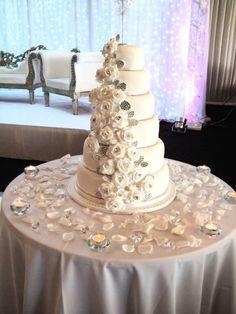 white and diamond wedding cake