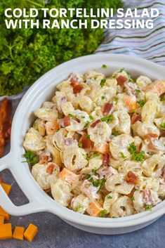 Creamy cold tortellini salad with ranch dressing. Loaded with big bites of cheddar cheese, pieces of crumbled bacon, and cheese tortellini. Pasta Salad With Tortellini, Recipes With Cheese Tortellini, Barbecue Side Dishes, Cooking Recipes, Healthy Recipes, Healthy Dishes, Healthy Meals, Pasta Salad Recipes, Summer Salads