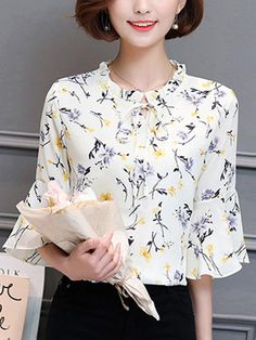 751e5f7c98d Specifications Product Name  Tie Collar Floral Bell Sleeve Blouse Weight   160(g)
