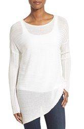 Eileen Fisher Tencel® Knit Bateau Neck Asymmetrical Hem Sweater (Regular & Petite)