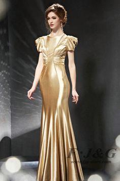 2014Gold Beading Cap Sleeve Pleated Mermaid Dress 82053
