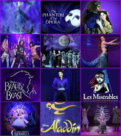 Wicked, The Phantom of the Opera, Beauty & the Beast, Rock of Ages, The Addams Famiy, The Little Mermaid, Mary Poppins, Les Miserables, Cinderella, Aladdin, Matilda