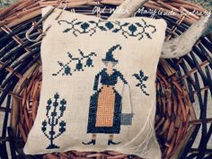 "cross stitch primitive ""old witch Mary quite contrary""    halloween pattern"