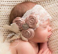 Baby Headband, Baby Headbands, Christening Headband, Newborn Headband,Baptism Headband, Flower Girl Headbands, Girls Headband, Lace Headband by ThinkPinkBows on Etsy https://www.etsy.com/listing/205788582/baby-headband-baby-headbands-christening