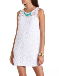 sleeveless crocheted lace shift dress