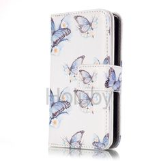 Embossed Dual Layer 9 Card Slots Wallet Style Magnetic Flip TPU+ PU Leather Case for iPhone SE 5 5S - Blue Butterfly
