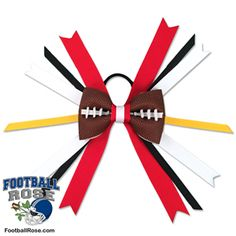 Handmade Football Hair Bow made from real football leather with Red, Gold & White ribbon accents inspired by San Francisco football Arizona Football Team, Football Fans, Football Hair Bows, San Francisco Football, Different Font Styles, Team Mom, Elastic Hair Ties, Making Hair Bows, Ribbon Colors