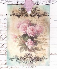 Romantic Faded French Roses  -  Pink Roses - Gift Tags -  by Bluebird Lane