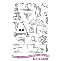 Katzelkraft - Les Drôles D'Accessoires - Funny Accessories - Birds, Cats, Dogs, Jungle Animals - Unmounted Red Rubber Stamp Set