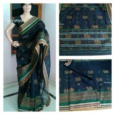 Kalmakari peacock in lovely block printed cotton saree. www.facebook.com/Aavanya