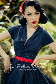 1950 Outfits, Pin Up Outfits, Vintage Inspired Outfits, Vintage Style Dresses, Vintage Outfits, Moda Rockabilly, Rockabilly Fashion, 1940s Fashion, Vintage Fashion