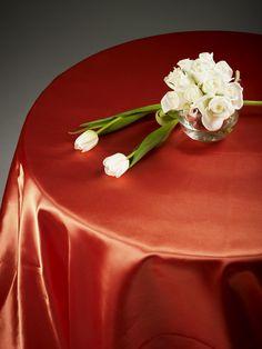 Orange Satin #tablecloth Available for hire www.decorit.com.au #linen #hire #melbourne