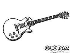 Electric Rock And Roll Guitar Coloring Sheet At YesColoring