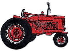 """[Single Count] Custom and Unique (2 1/4"""" x 3 1/2"""") Farm Equipment Tractor Iron On Embroidered Applique Patch {Red, Black and Gray Colors} myLife Brand Products http://www.amazon.com/dp/B0106TH6X8/ref=cm_sw_r_pi_dp_5jxPvb0JPV8YZ"""