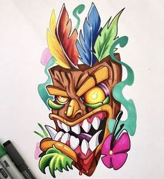 Art beech – Graffiti World Graffiti Drawing, Graffiti Art, Cool Drawings, Tattoo Drawings, Tiki Maske, Desenho New School, Karten Tattoos, Tiki Tattoo, Tiki Art