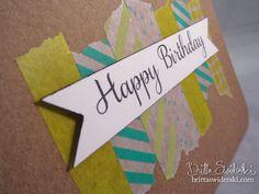 Card from Britta Swiderski blog:  Happy Birthday with  Washi