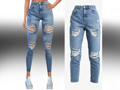 High Waist Ripped Jeans by Saliwa at TSR • Sims 4 Updates