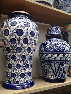 Blue and white ginger jars at Talavera Vazquez, just some of their many wonderful designs. #mexico #ceramics #pottery (SPECIAL ORDER AVAILABLE)