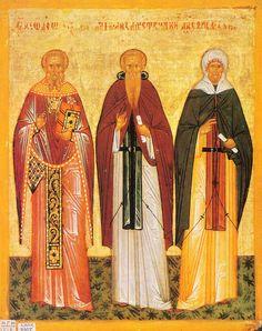 Феодор Студит, Феодосий Великий () и Ефрем Сирин [Конец XV — начало XVI вв.] 24 × 19.5 см.