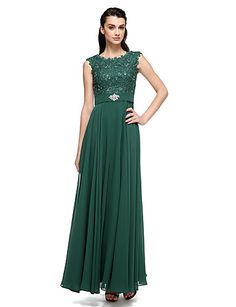 Formal Evening Dress - Ball Gown Scoop Floor-length Chiffon / Lace / Charmeuse with Beading / Lace / Pearl Detailing 4990296 2016 – £81.99