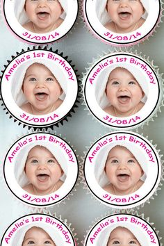 #Personalised photo 1st #birthday cup cake toppers #edible decoration cupcake 108,  View more on the LINK: 	http://www.zeppy.io/product/gb/2/221418350160/