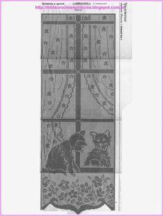 Belíssimo modelo de cortina em renda de crochê de filé.
