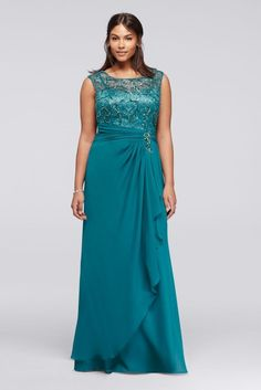 Beaded Plus Size Chiffon Mother of Bride/Groom Dress with Cap Sleeves - Teal (Blue), 20W