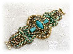Bead Embroidered Bracelet  Bead embroidery art  by budaikata