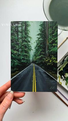 Road Painting, Forest Painting, Learn Painting, Indian Art Paintings, Cool Paintings, Black Canvas Paintings, Watercolor Art Landscape, Diy Canvas Art, Process Art