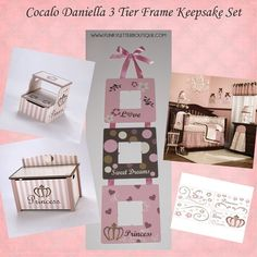 Cocalo Daniella crib bedding | keepsake frame set | newborn pics | nursery art | 3 tier frame | princess by www.funkyletterboutique.com
