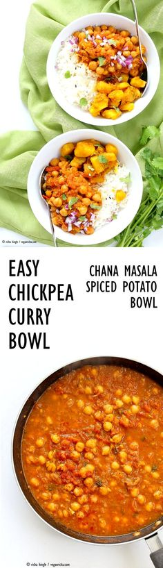 Easy Chickpea Curry Spiced Potato Bowl. Quick Chana Masala Chickpea Curry served with rice or cooked grains and 5 ingredient Spiced Potatoes. Vegan Gluten-free Soy-free Recipe | VeganRicha.com