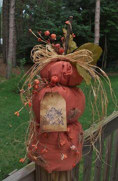 Folk Art PrimiTive FALL Leaf Tier CounTry ScareCrow Orange PUMPKIN DecoraTion #Country #MelissaHarmon