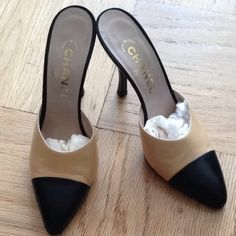 Chanel Vintage Beige With Black Toe Mules $375