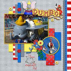 Disney Scrapbook Page Layout -- Dumbo Scrapbook Designs, Scrapbook Sketches, Scrapbook Page Layouts, Scrapbooking Ideas, Scrapbook Templates, Disney Scrapbook Pages, Scrapbook Paper Crafts, Scrapbook Cards, Baby Scrapbook