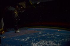 orbiting silently over a moonless Indian Ocean with the constellation Cassiopea