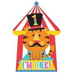 These Fisher Price 1st Birthday Circus Invitations feature the tiger ringmaster wearing a black top hat with a number one and the words I'm One!