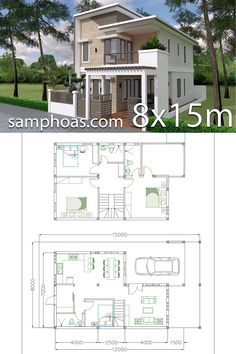 Home Design Plan with 4 Bedrooms Plot - SamPhoas Plansearch Home Design Plan with 4 Bedrooms Plot This villa is modeling by SAM-ARCHITECT With 2 stories level. It's has 4 bedrooms. Home Design Plan 2 Storey House Design, Duplex House Design, Small House Design, Modern House Design, House Layout Plans, Duplex House Plans, House Layouts, House Floor Plans, House Construction Plan