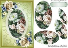 Pretty vintage summer cream roses oval pyramids on lace on Craftsuprint - Add To Basket!