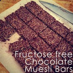 Fructose Free Chocolate Muesli Bars ~ Gluten free, nut free, low fructose and egg free Makes about 16 bars Lunch Box Recipes, Dessert Recipes, Lunch Ideas, Desserts, Snack Recipes, Lchf, Banting, Work Lunch Box, Lunch Boxes