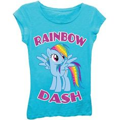 Hasbro My Little Pony Rainbow Dash Girls Princess Graphic Tee T-Shirt, Size: Small, Blue