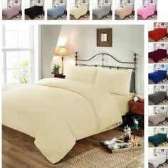 Plain Dyed Polycotton Duvet Cover with Pillow Case Set - Cream