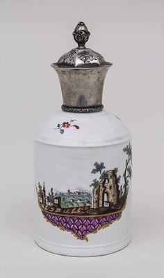Teedose mit klassizistischer Ruinenmalerei / A Tea Caddy With Neo-Classical Ancient Ruins , Hoechst,