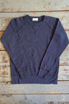 Velva Sheen Crew Neck Sweatshirt Navy Cotton Fleece