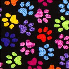 imprimibles de diseño de huellas de perro de colores de fondo cuadriculado tipo tela