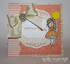 Birthday Wishes card, made with Tickled Pink image and beautiful silk bow