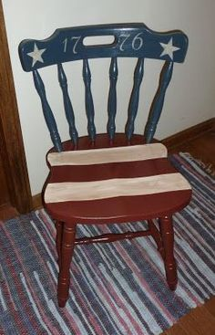 Americana Crafts, Patriotic Crafts, July Crafts, Patriotic Party, Fourth Of July Decor, 4th Of July Decorations, July 4th, Painted Chairs, Painted Furniture